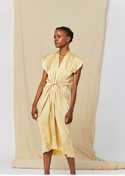 Silk charmeuse | Miranda Bennett champagne knot dress | Rue Saint Paul
