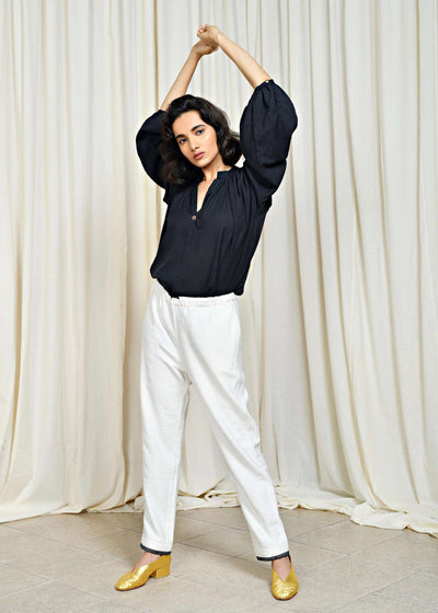 Shama | Ivory drawstring cotton trousers | Rue Saint Paul