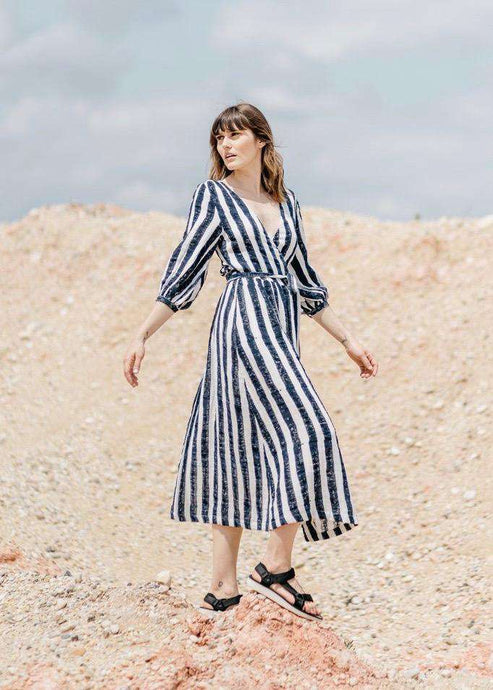 Louisa | White and blue stripe midi wrap dress | Rue Saint Paul