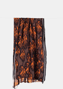 Printed chocolate and maroon scarf by Humanoid | Rue Saint Paul