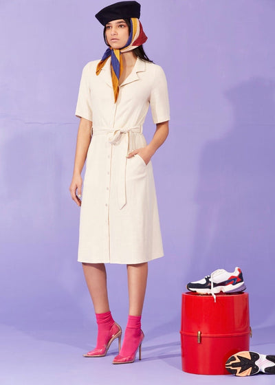 Cream button-up belted dress | Mi ojo | Rue Saint Paul