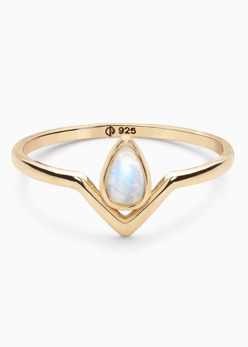 Teardrop moonstone ring | Ethical Jewelry | Rue Saint Paul