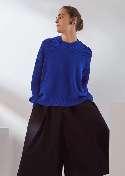 Cobalt blue sweater | Kowtow | Rue Saint Paul