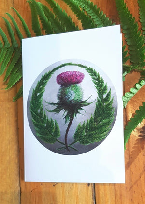 'Fern and Thistle' by A. Simpson Greeting Card