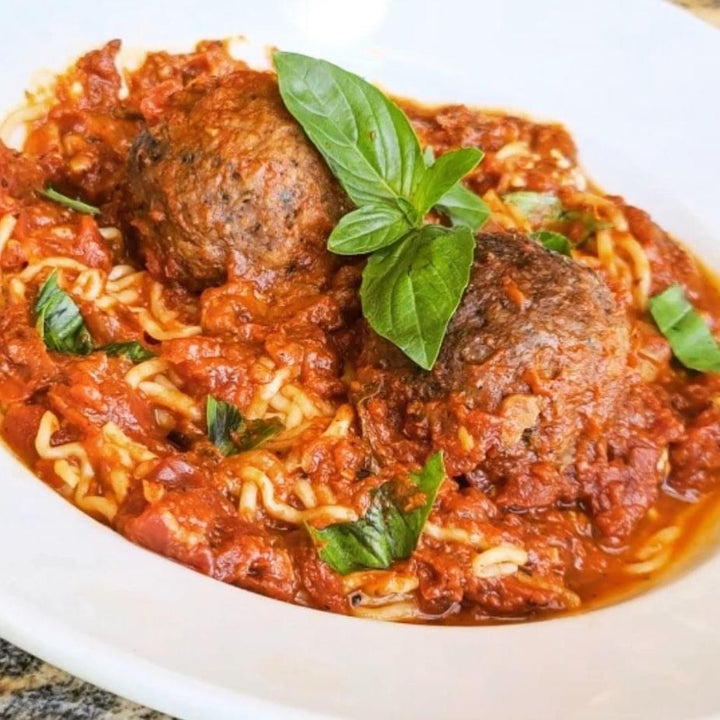Spaghetti and Vegan Beyond Meatballs in 12-Hour Marinara Sauce