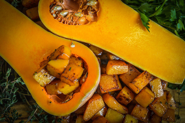 Pan-Seared Butternut Squash (76 calories, 20g carb)