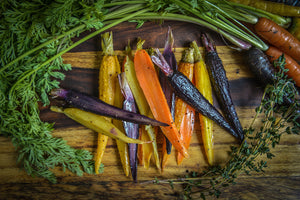 Roasted Heirloom Carrots (41 calories, 9.5g carb)