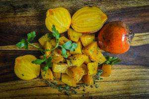 Oven-roasted Golden Beets (22 calories, 5g carb)