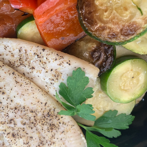 Summer Grilled Vegetable Ratatouille with Baked White Fish