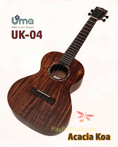 NEW! UK-04 Acacia Koa Ukulele / Black Headstock