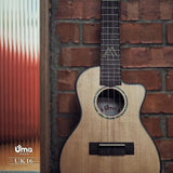 New! UK-16 Solid Spruce Top & Koa Body Cutaway Ukulele