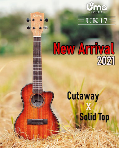 NEW! UK-17 Solid Mahogany Cutaway Honeyburst Ukulele