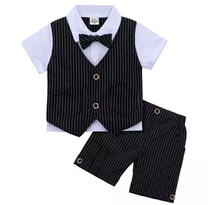 boys black pinstripe short suit