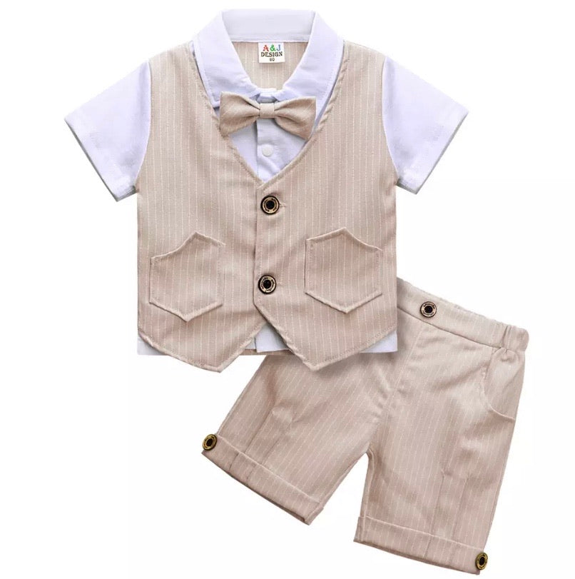 Boys Short Pinstripe Suit in Beige