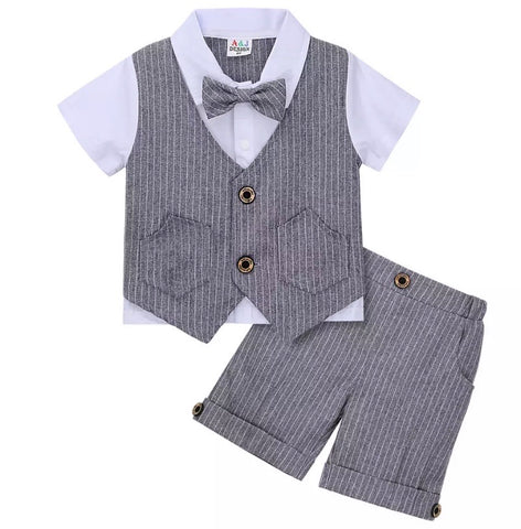 boys pinstripe short suit grey