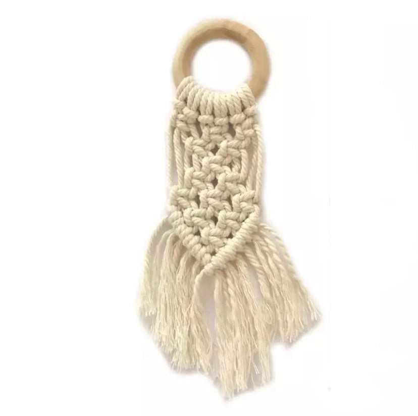 macrame wood teether