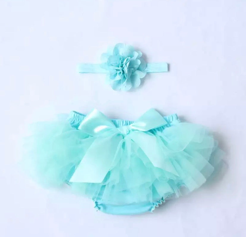 ruffle baby bloomers teal
