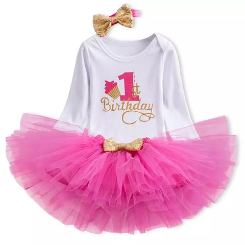 Hot Pink Cupcake 1st Birthday Outfit