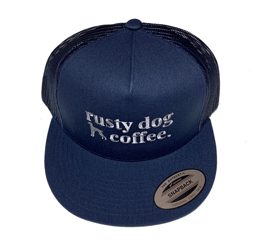Rusty-Dog-Coffee-5-panel-mesh-back-hat-navy