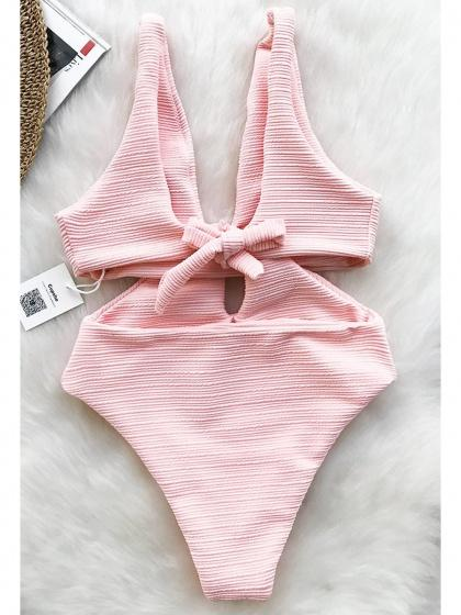 Pink One-Piece Swimsuit Plunge Knot Front