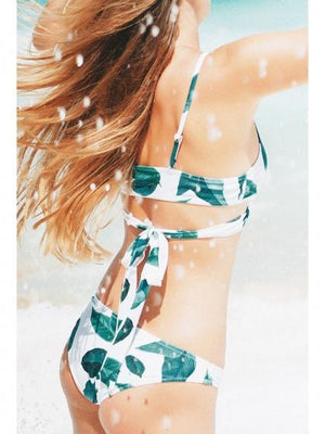 White Bikini Set Leaf Print Tie Back