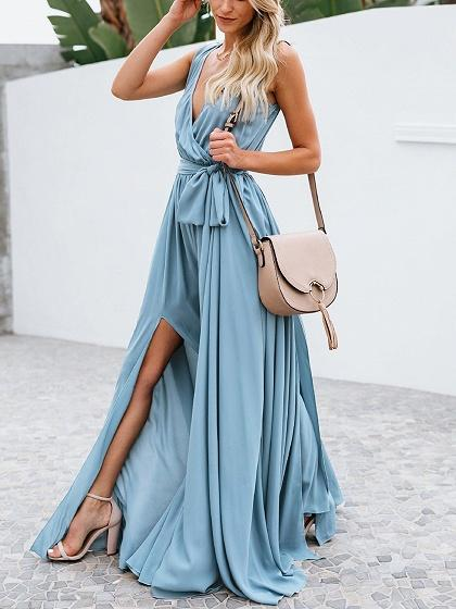 Light Blue Cotton V-neck Tie Waist Sleeveless Chic Women Maxi Dress