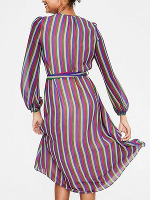 Multicolor Stripe Chiffon Tie Waist Long Sleeve Chic Women Midi Dress