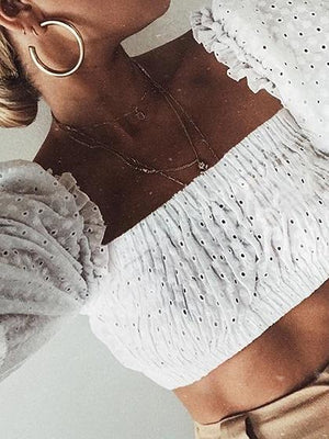 White Cotton Off Shoulder Frill Trim Chic Women Crop Top