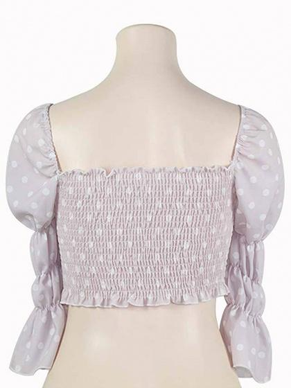 Pink Women Crop Top Square Neck Polka Dot Print Puff Sleeve