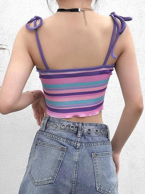 Polychrome Stripe Tie Detail Crop Cami Top