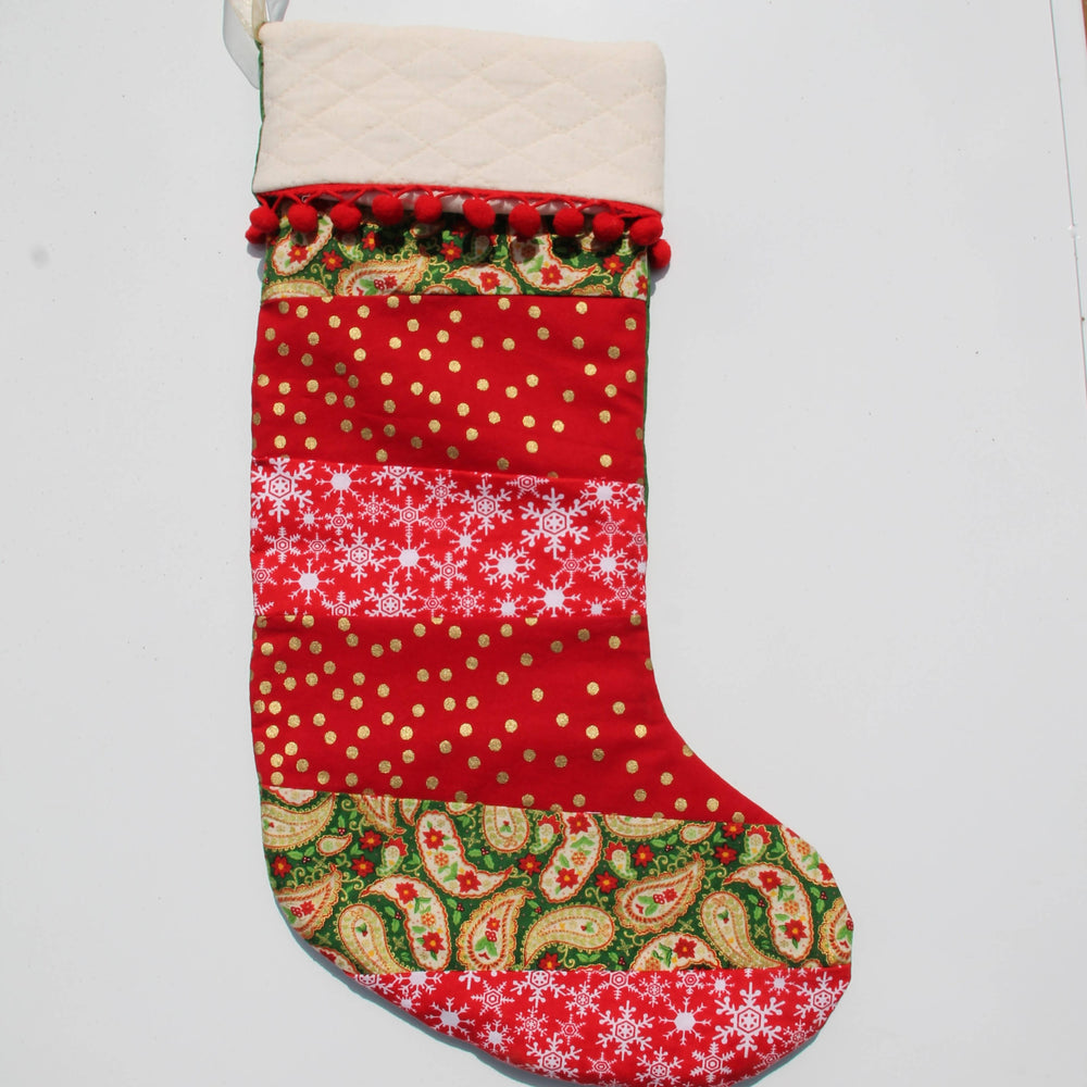 Patch Work Christmas| Christmas Stocking-Christmas Stocking-The Red Road Collective