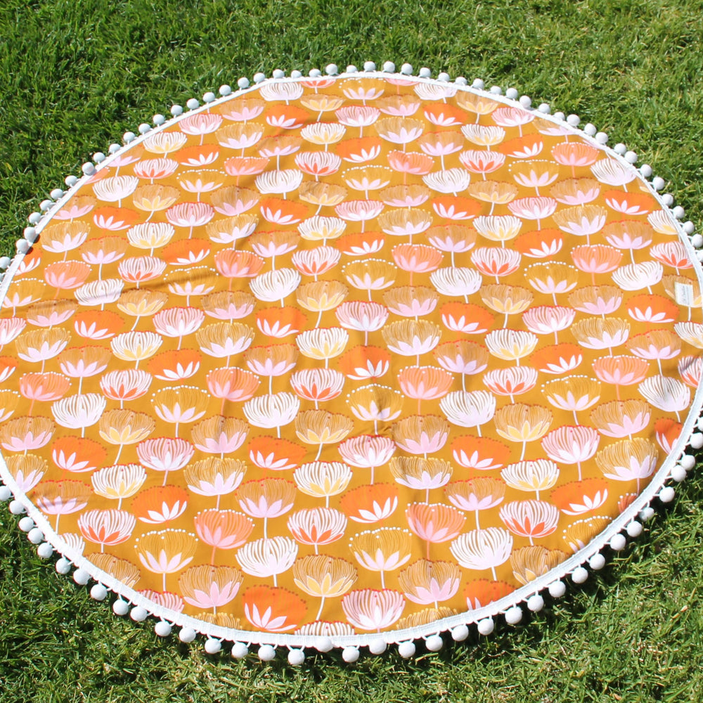 Yellow Warratah with White Trim| Weatherproof backing |Play/Picnic mat