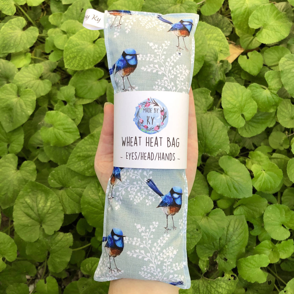 Wheat Heat Bag - Blue Wrens - Mini-Wheat heat bag-The Red Road Collective