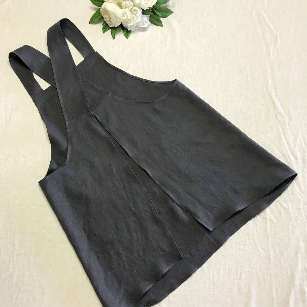 Pure Linen Cross-Back Apron - Slate Grey (Small - Fits approx. 8-14)-Apron-The Red Road Collective