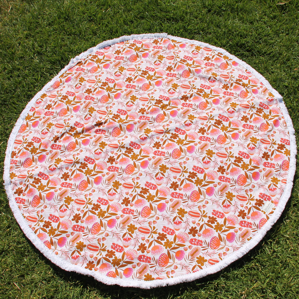 Australian Flowers with white trim| Cotton backing |Play mat-Picnic blanket |Play mat-The Red Road Collective