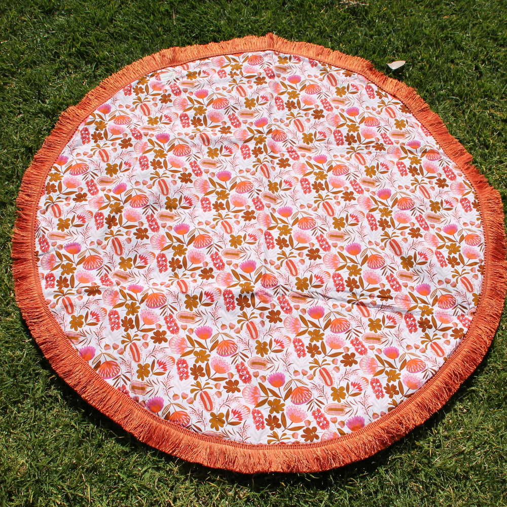 Australian Flowers with orange trim | Cotton Backing |Play mat