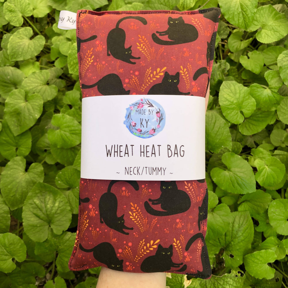 Wheat Heat Bag - Black Kitties - Regular