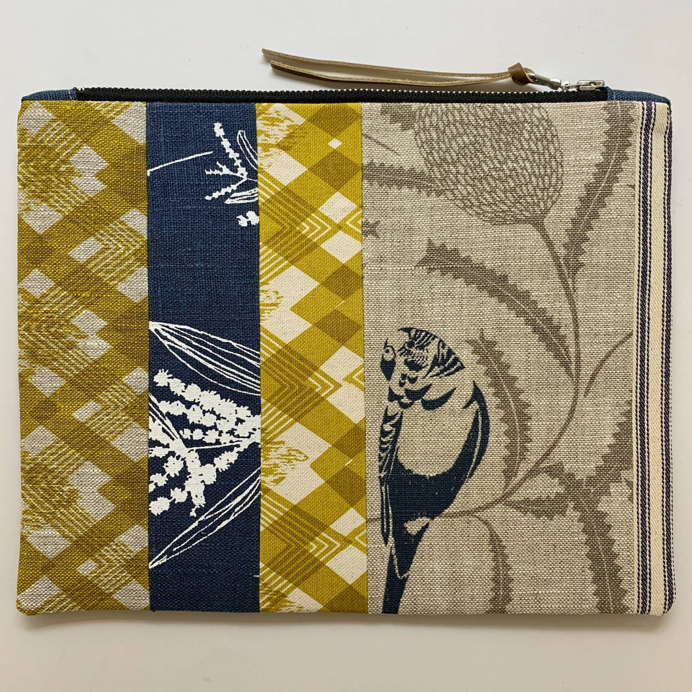 Patchwork Budgie Clutch with Wattle and Mustard Geo Print