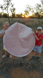 Velvet pink shells| Weatherproof backing |Play/Picnic mat