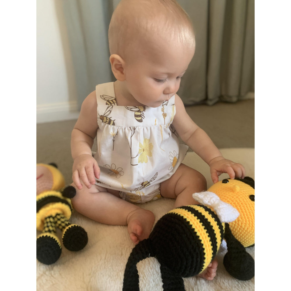 Ready to Post | Bee-utiful Romper | Derry Downs Handmade |