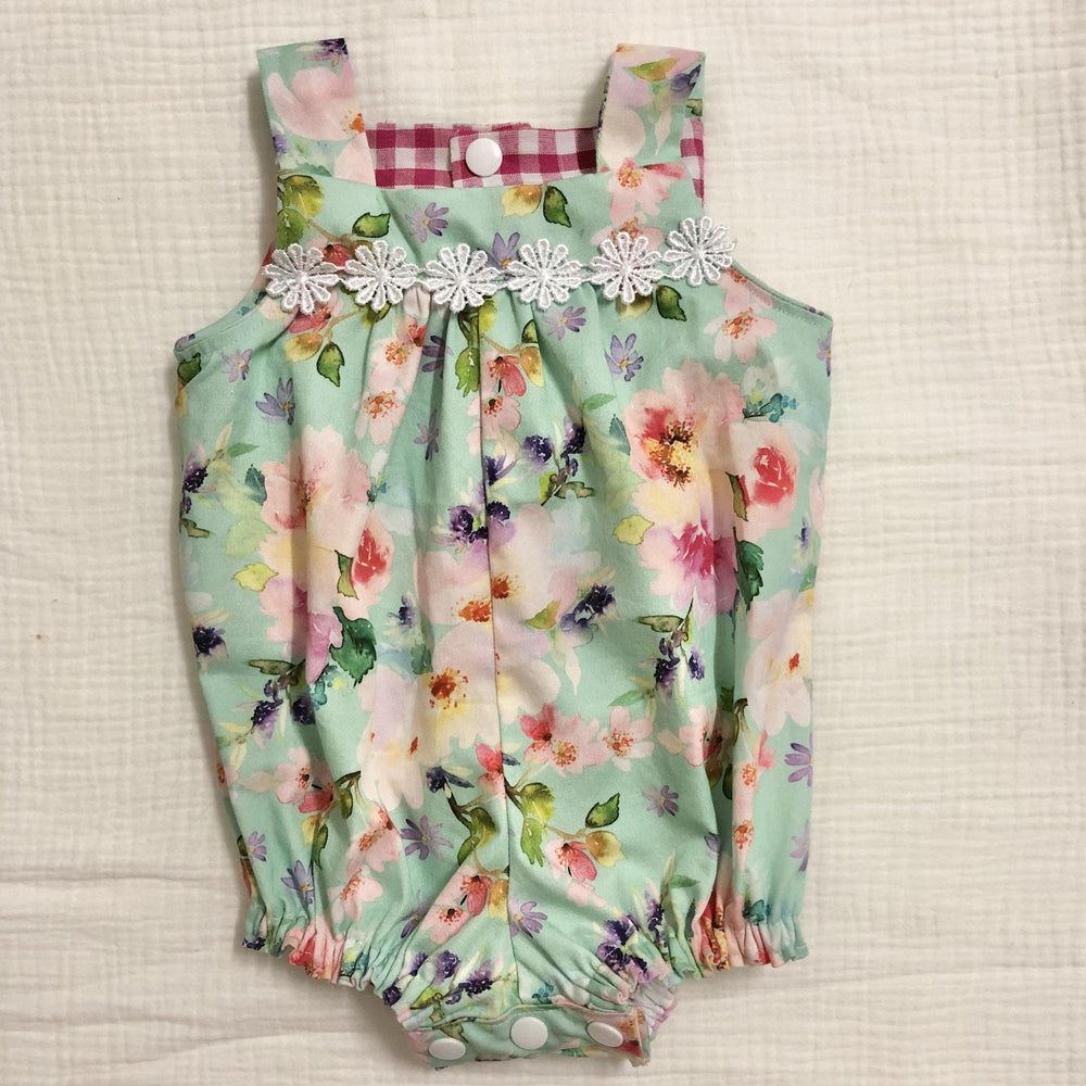 Ready to Post | Floral Green Romper | Derry Downs Handmade |