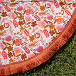 Australian Flowers with orange trim | Cotton Backing |Play mat-Picnic blanket |Play mat-The Red Road Collective