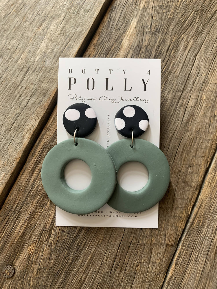 Spotty Khaki Hoop Dangles-Dangles-The Red Road Collective