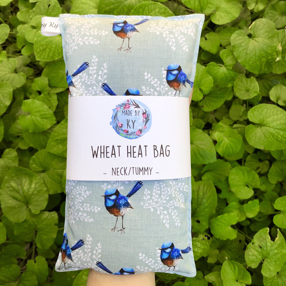 Wheat Heat Bag - Blue Wrens - Regular-Wheat heat bag-The Red Road Collective