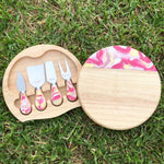Made to Order - 5pce Resin Board set with knives-Round board with knives-The Red Road Collective