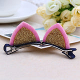 Free Shipping 2PCS/Lot Little Girls Barrettes Cute Cat Ears Hair Clip Children Safety Hairpin