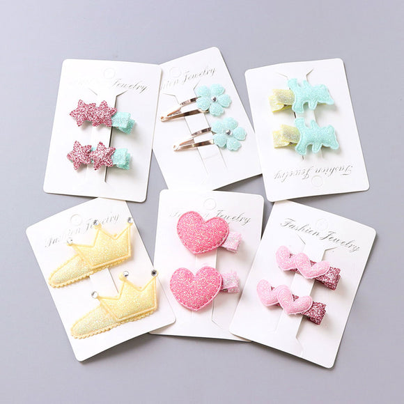1Pack=2PCS Hot Sale Children New Hair Clips Cute Crown Flowers Safety Barrettes BB Clip