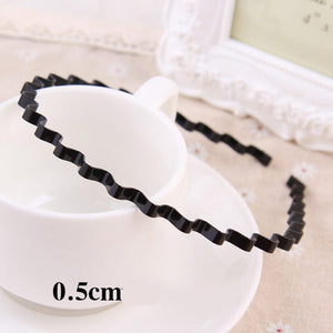 1PC New Fashion Korean Girls Simple Hairbands 4 Styles Unisex Black Hair Bands Metal Wavy Headbands