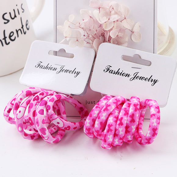 Hot Sale 6PCS/Lot Girls Cute Color Hair Band Pink Print Dot Lovely Elastic Headband