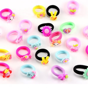 10PCS/Lot Little Girls Cartoon Elastic Hair Band Candy Color Hair Rope Kid Resin Headband
